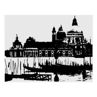 Carte postale blanche noire de voyage de Venise