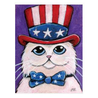 Carte postale blanche patriotique du chat persan |