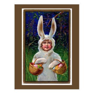 Carte postale blanche vintage de Pâques de costume