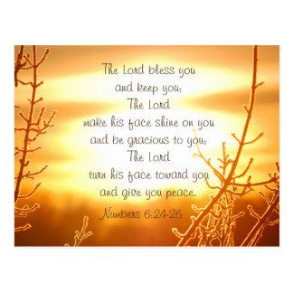 Carte Postale Blessing Bible Verse Postcard de seigneur