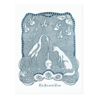 Carte Postale Bleu de Fox et de grue
