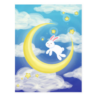 Carte Postale Bleu de lapin de lune
