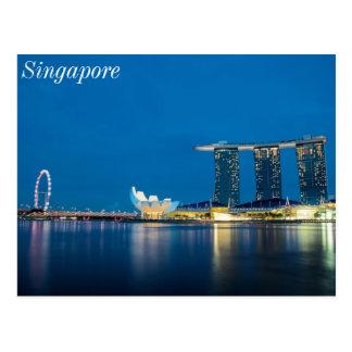 Carte Postale Bleu de Singapour par la baie
