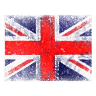 Carte Postale Bleu et drapeau rouge de l'Angleterre