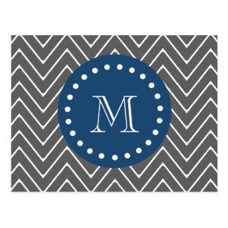 Carte Postale Bleu marine, motif | de Chevron de gris de charbon