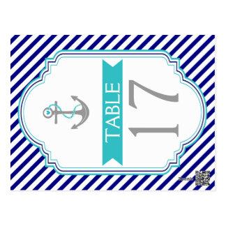 Carte Postale Bleu marine, nombre nautique de table de mariage