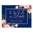 Carte Postale Bleu marine royal d'or floral rose - faites gagner