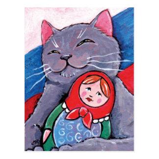 Carte Postale Bleu russe et art patriotique de chat de la poupée