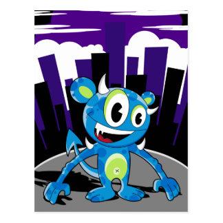 Carte postale bleue bizarre de monstre