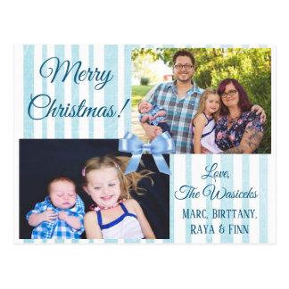 Carte postale bleue d'arc de photo de famille de