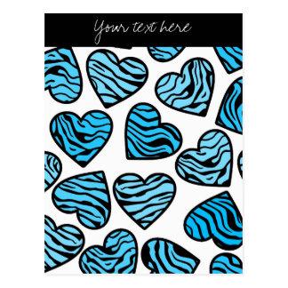 Carte postale bleue de conception de coeurs de
