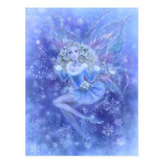Carte postale bleue de fée de Noël
