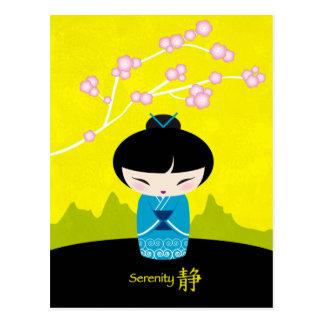 Carte postale bleue de kokeshi
