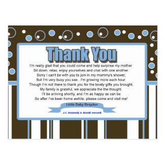 Carte postale bleue de Merci de baby shower de