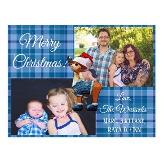 Carte postale bleue de plaid de photo de famille