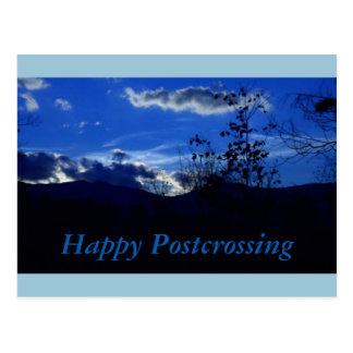 Carte postale bleue de Postcrossing de montagne