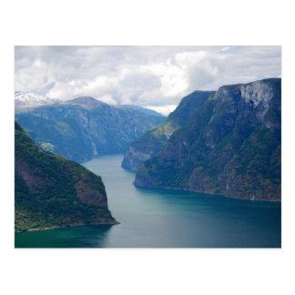Carte postale bleue de rêve de fjord