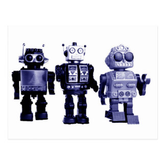 carte postale bleue de robots