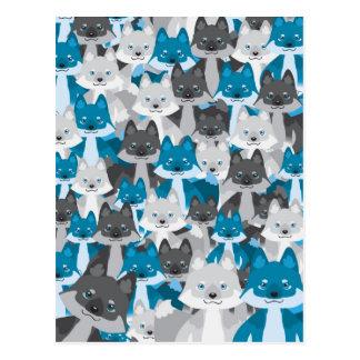 Carte postale bleue de Wolfie