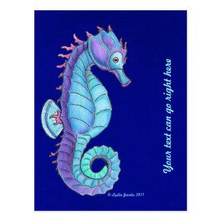 Carte postale bleue d'hippocampe