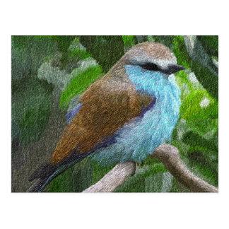 Carte postale bleue d'oiseau