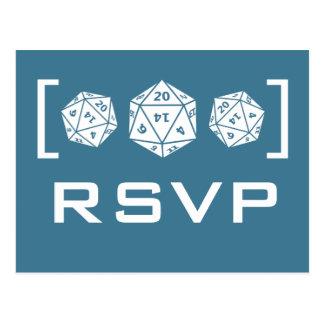 Carte postale bleue du Gamer RSVP des matrices D20