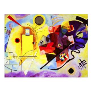 Carte postale bleue rouge jaune de Kandinsky