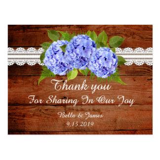 Carte postale bleue rustique de Merci de mariage