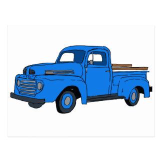 Carte postale bleue vintage de camion