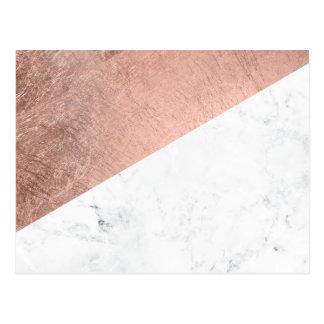 Carte Postale Bloc de marbre blanc de couleur d'or rose moderne