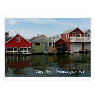 Carte Postale Boathouse : Pilier de ville, Canandaigua, NY
