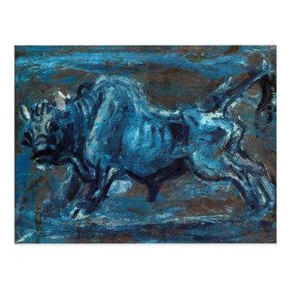 """Carte Postale """"Boeuf blanc puissant 4"""" peinture par Lee"""