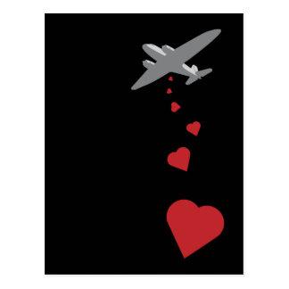 Carte Postale Bombardier de coeur - faites la guerre d'amour pas