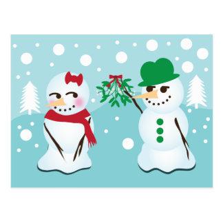 Carte Postale Bonhomme de neige avec le gui voulant un baiser