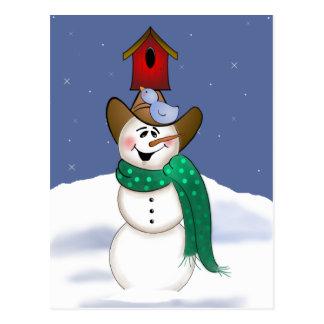 Carte Postale Bonhomme de neige de cowboy avec la volière