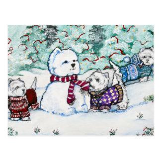 Carte Postale Bonhomme de neige de Terrier blanc de montagne