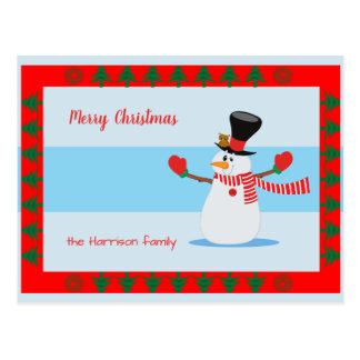 Carte Postale Bonhomme de neige de vacances de Joyeux Noël