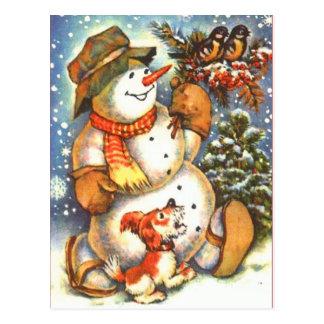 Carte Postale Bonhomme de neige et chien