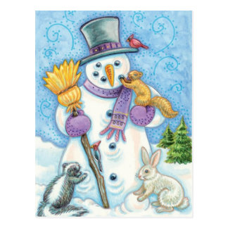 Carte Postale Bonhomme de neige gai