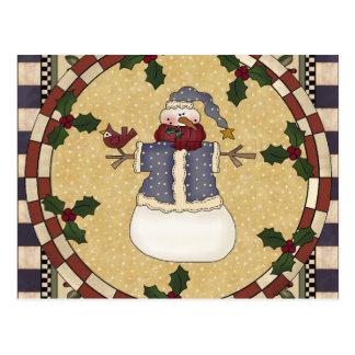 Carte postale - bonhomme de neige habillé par