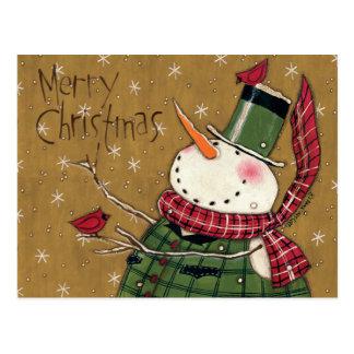 Carte Postale Bonhomme de neige investi par vert