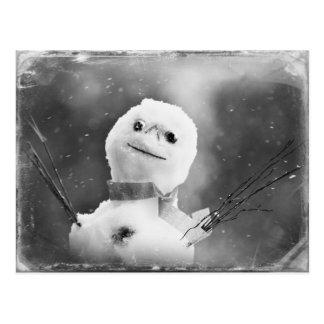 Carte Postale Bonhomme de neige noir et par blanc changé
