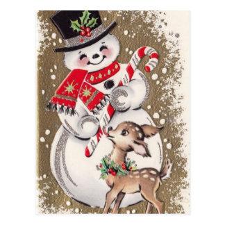 Carte Postale bonhomme de neige vintage des années 1950 avec des