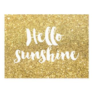 Carte Postale bonjour calligraphie de soleil sur l'effet de