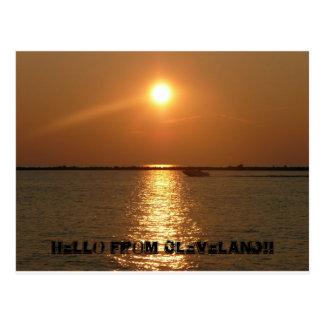 Carte Postale Bonjour de Cleveland - coucher du soleil