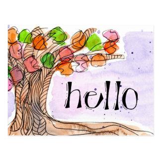 Carte Postale Bonjour et Merci - aquarelle feuillue d'arbre