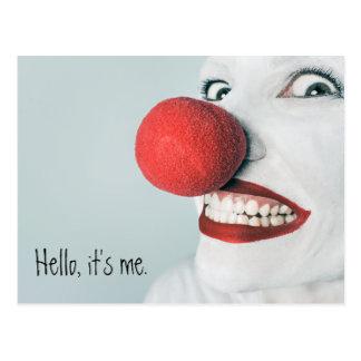 Carte Postale Bonjour, il est moi visage drôle de clown
