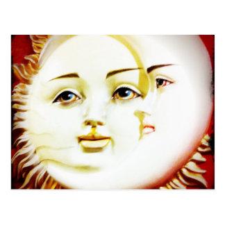 Carte Postale Bonjour, lune. Bonjour, Sun.