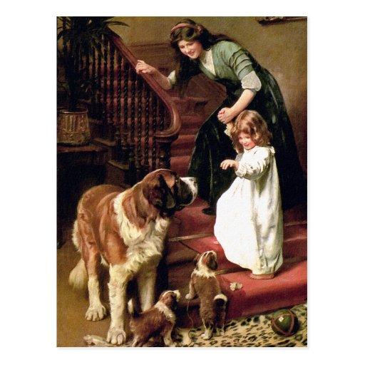 Carte postale :  Bonne nuit - avec St Bernard
