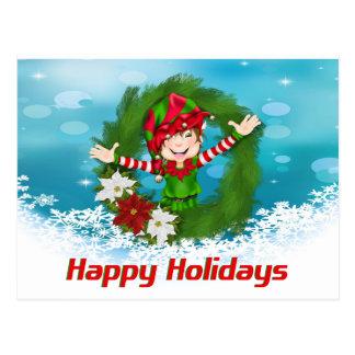 Carte Postale Bonnes fêtes Elf en guirlande